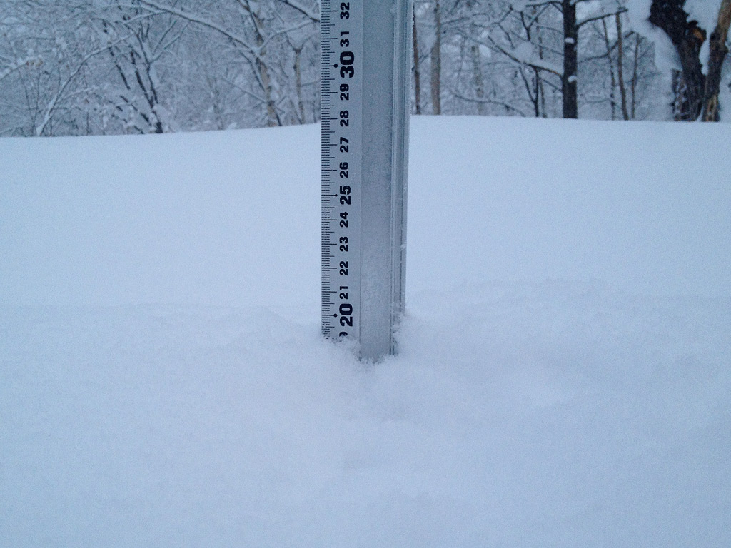Snow fall depth in Hirafu Village, 10 January 2013