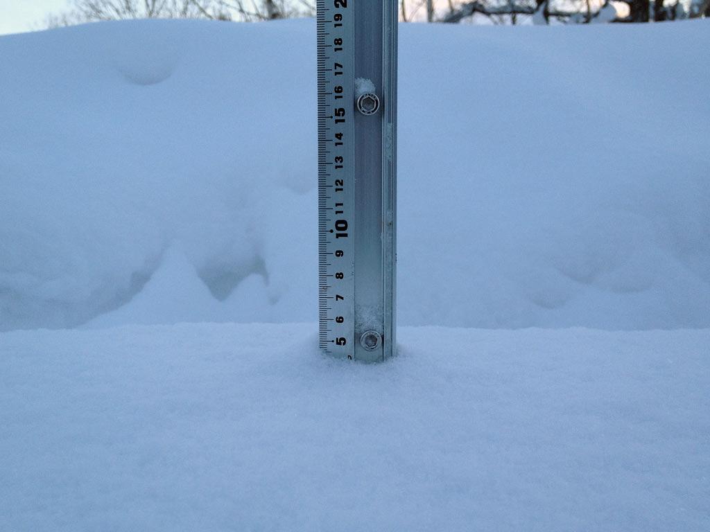Snow fall depth in Hirafu Village, 15 January 2013