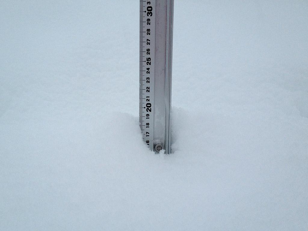 Snow fall depth in Hirafu Village, 16 January 2013