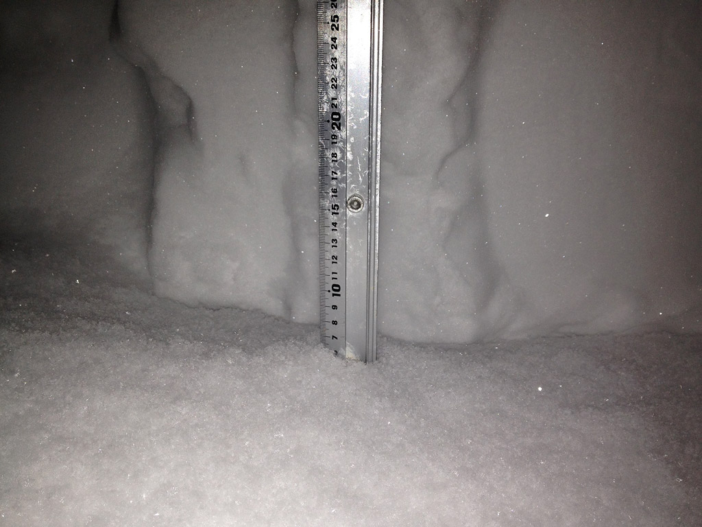 Snow fall depth in Hirafu Village, 28 January 2013