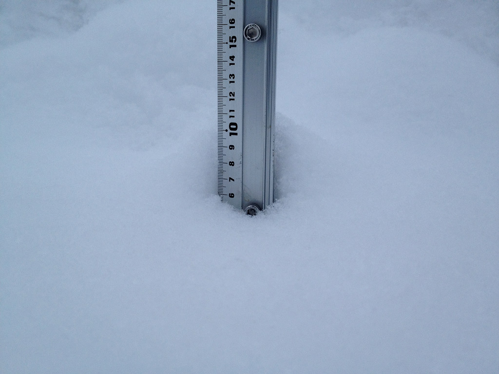 Snow fall depth in Hirafu Village, 10 February 2013