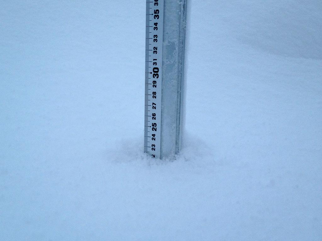 Snow fall depth in Hirafu Village, 5 February 2013