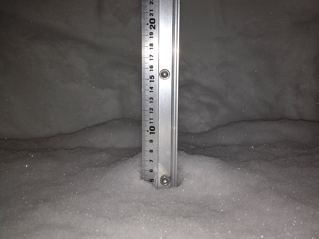 Snow fall depth in Hirafu Village, 9 February 2013