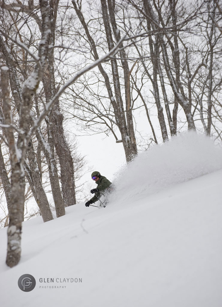 Ian Mackenzie enjoying some late season powder in Strawberry Fields Hanazono, 15 March 2009