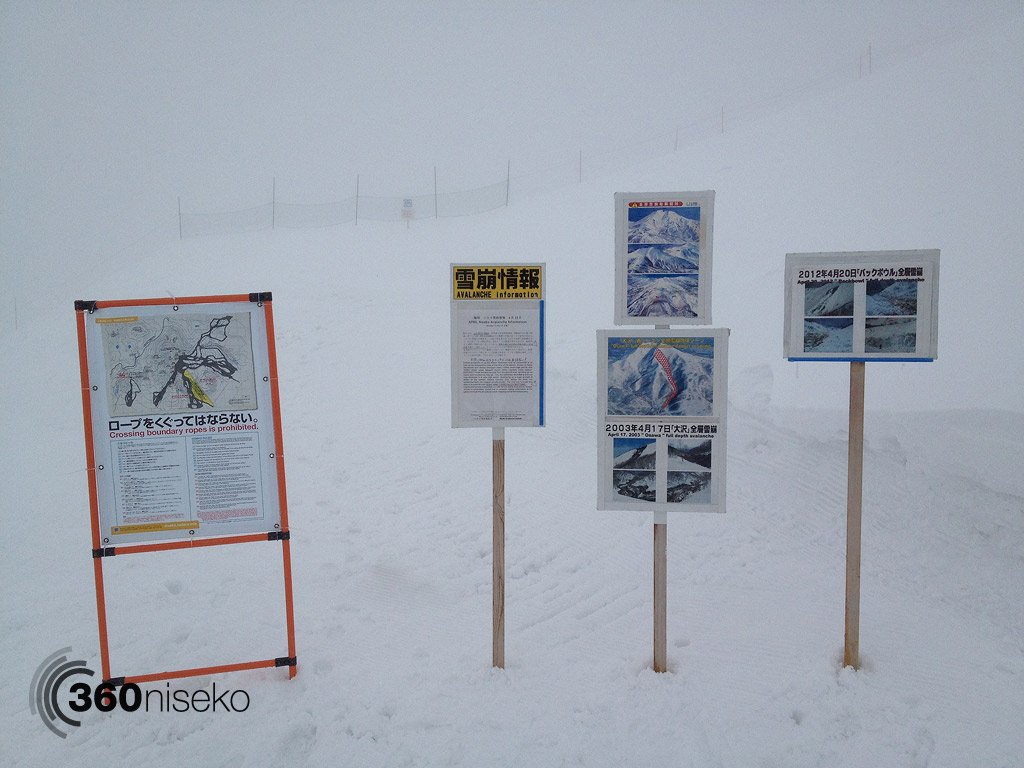 Avalanche information signs near gate 2, 1 May 2013
