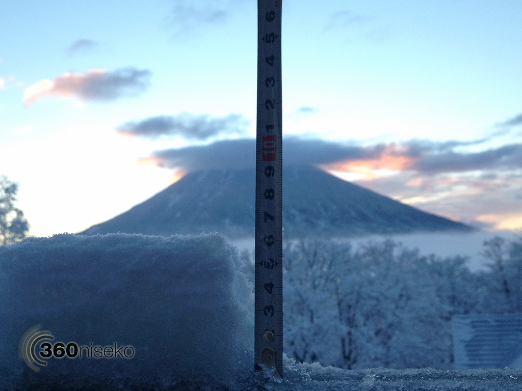 Snowfall depth in Hirafu Village, 9 November 2013