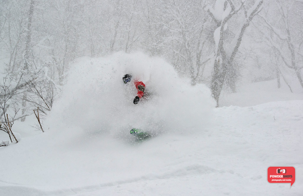 Matt exploding out of the waist deep powder in Hanazono, 5 January 2014