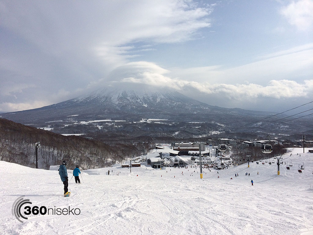 Mt. Yotei briefly pops out from the clouds, 3 January 2014