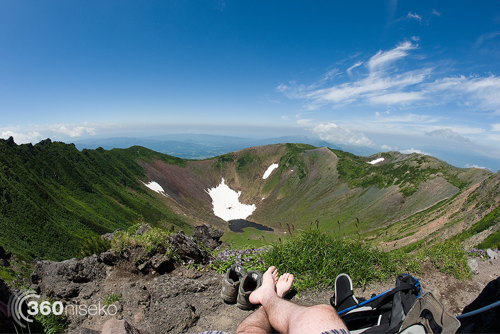 Taking in the view from the summit looking across the crater towards Hirafu, 18 July 2014