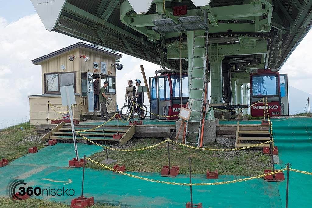 Unloading from the top of the Hirafu summer gondola, 15 July 2014
