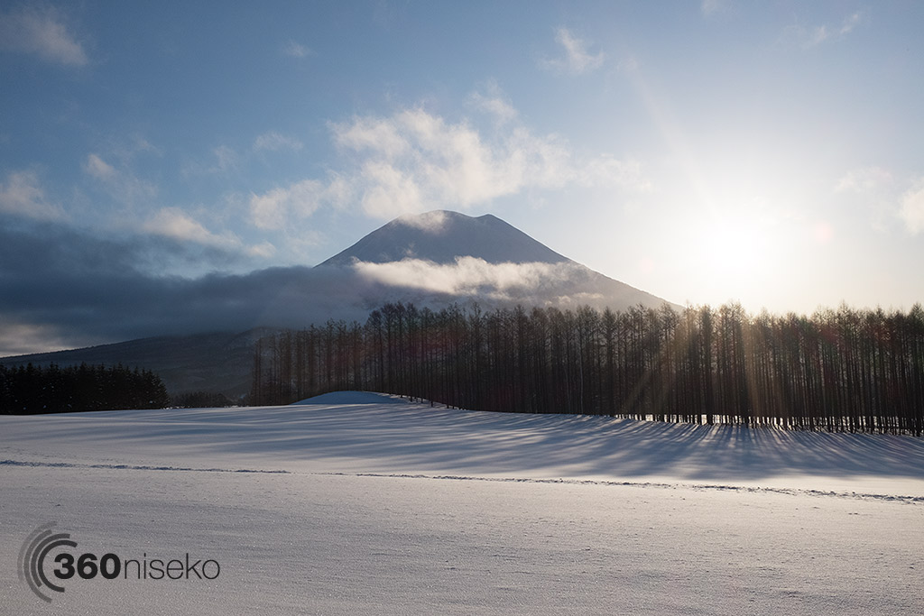 The sun pops over Mt.Yotei, 17 February 2015