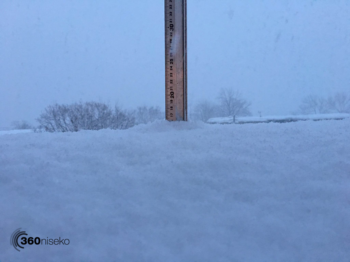 Snowfall in Hirafu Village, 16 January 2016