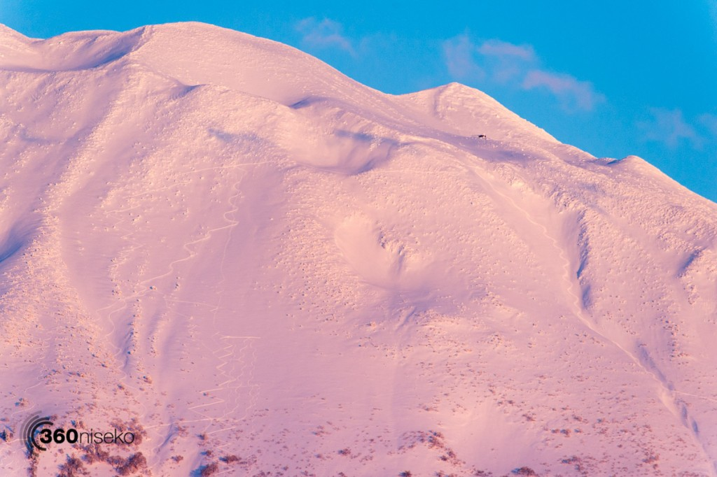 Tracks on a pink Mt.Yotei, 12 March 2016