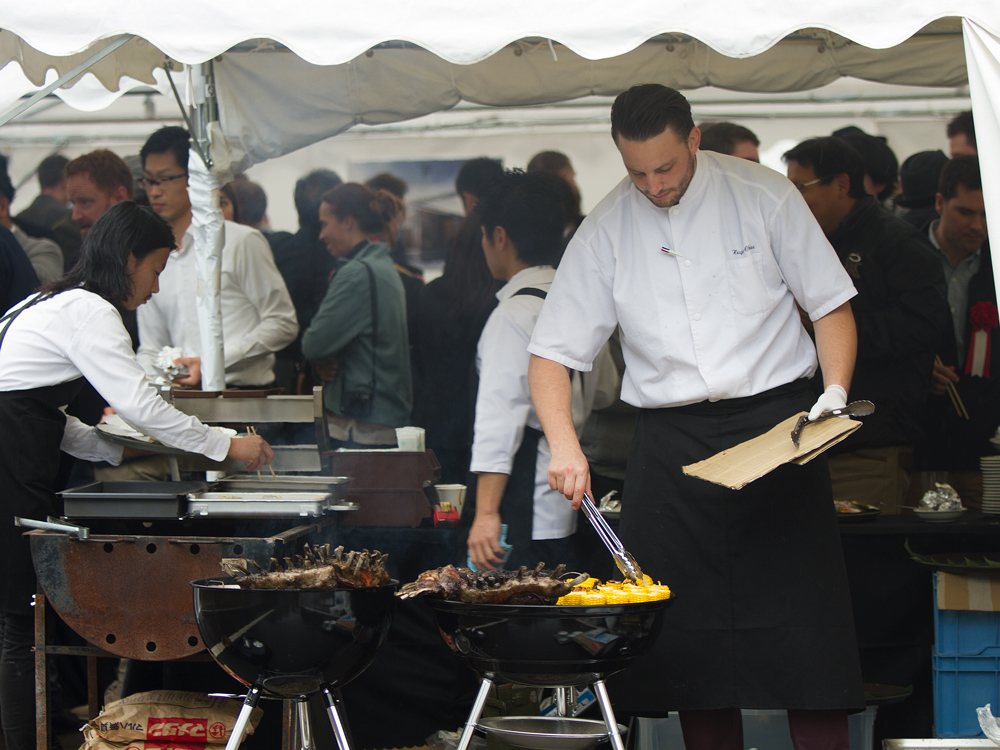 The loaded grill at the party marquee.