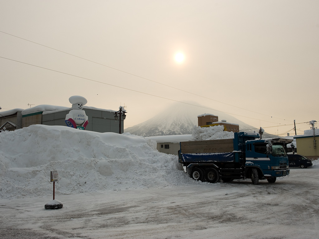 Snow clearing in front of the Kutchan Train Station, 12 January 2013