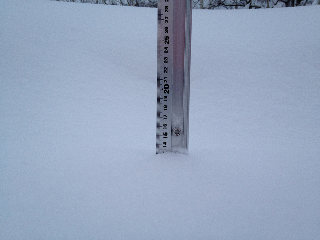 Snow fall depth in Hirafu Village, 13 January 2013
