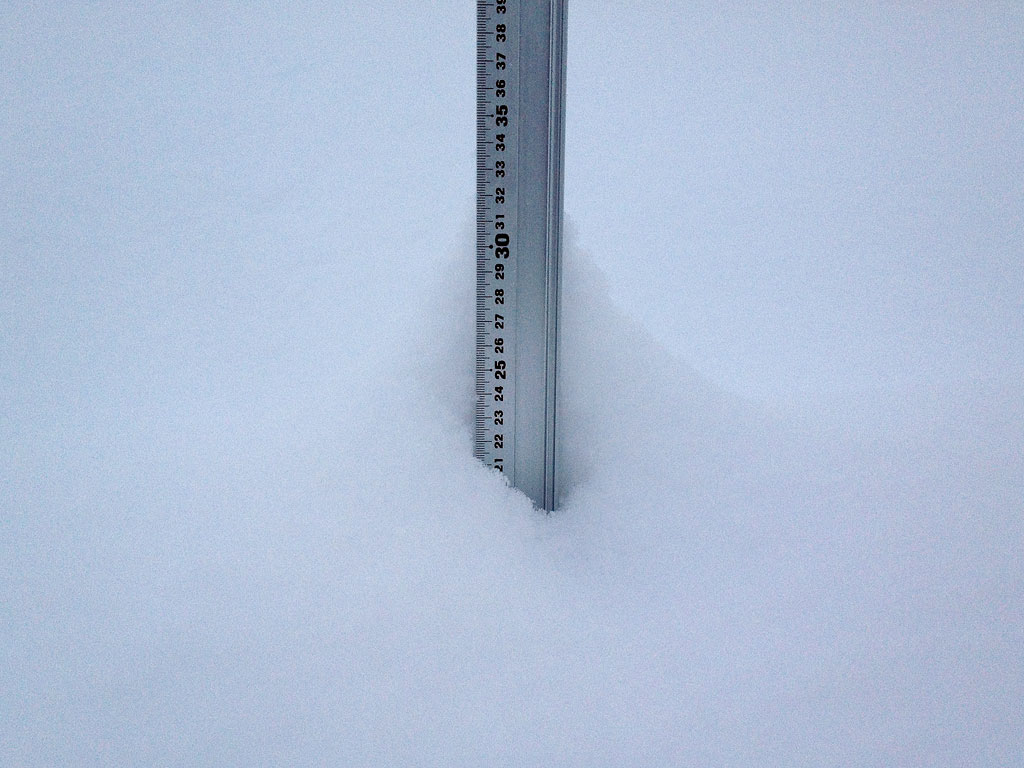 Snow fall depth in Hirafu Village, 17 January 2013