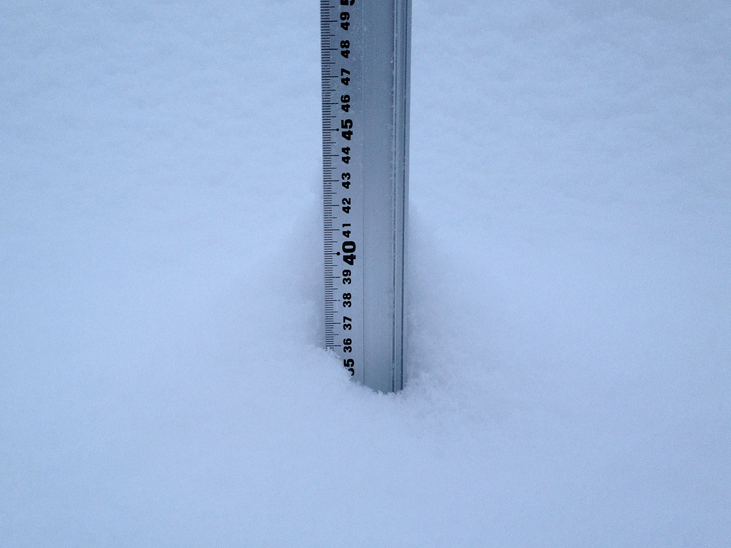 Snow fall depth in Hirafu Village, 19 January 2013