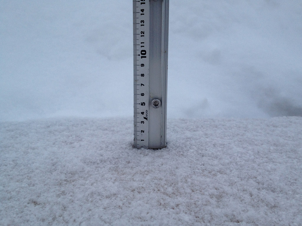 Snow fall depth in Hirafu Village, 21 January 2013