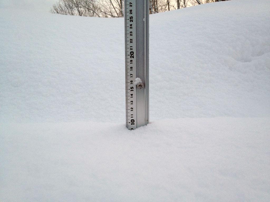 Snowfall depth in Hirafu Village, 26 January 2013