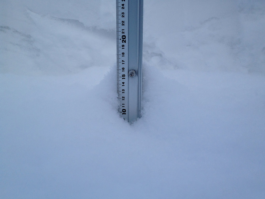 Snow fall depth in Hirafu Village, 12 February 2013