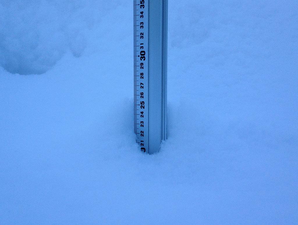 Snow fall depth in Hirafu Village, 15 February 2013
