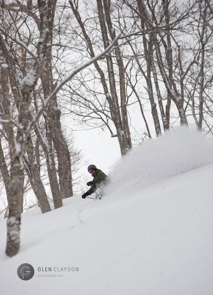 Ian Mackenzie enjoying some late season powder in Strawberry Fields Hanazono, 15 March 2009