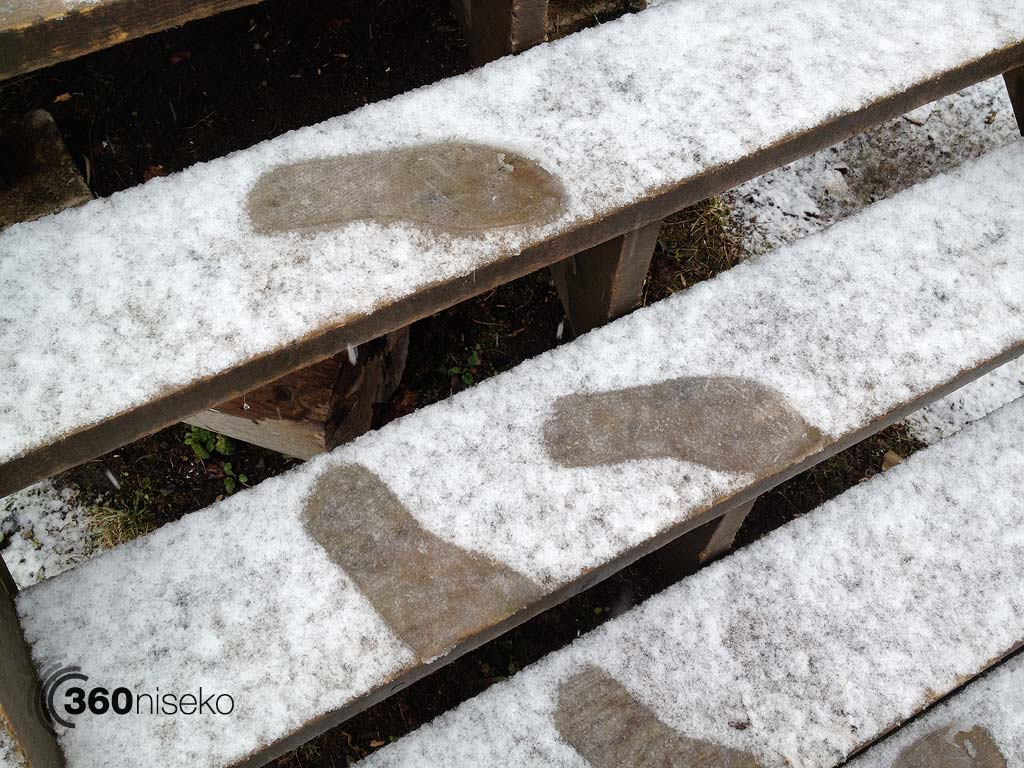 Foot steps in the fresh snow, 3 May 2013