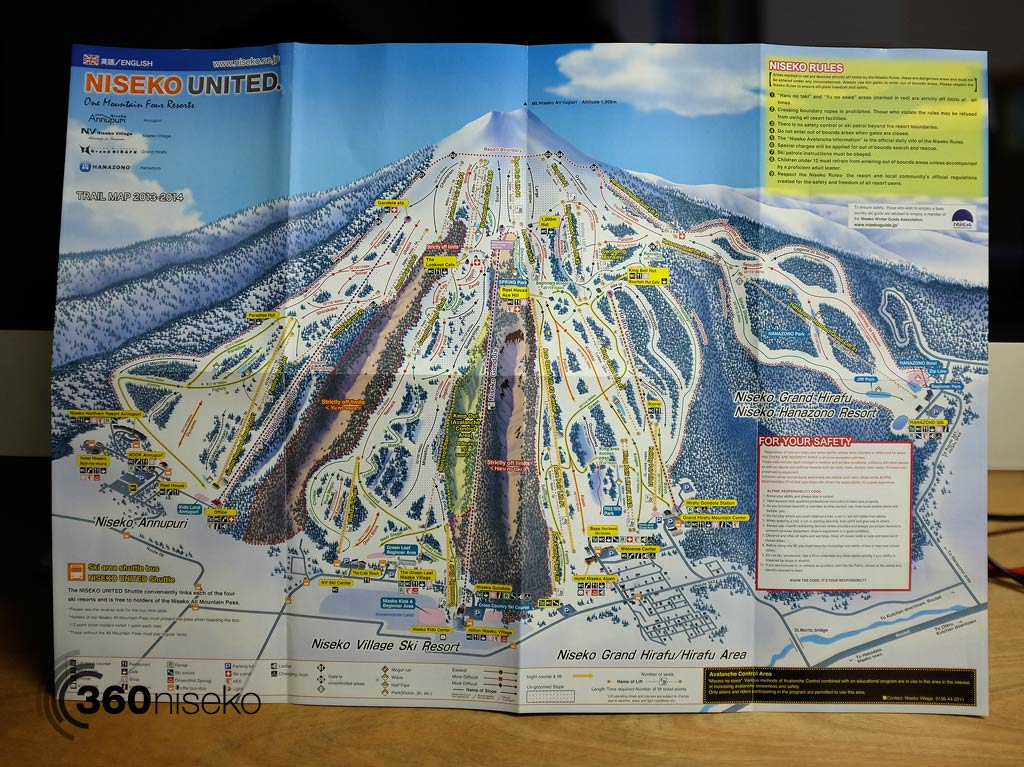 Niseko United Trail Map 2013-2014 unfolded, 23 October 2013