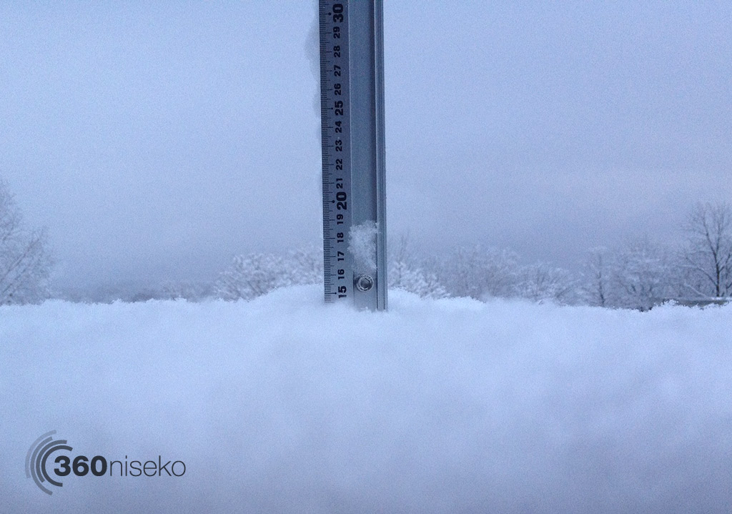 Snowfall depth in Hirafu Village, 28 November 2013
