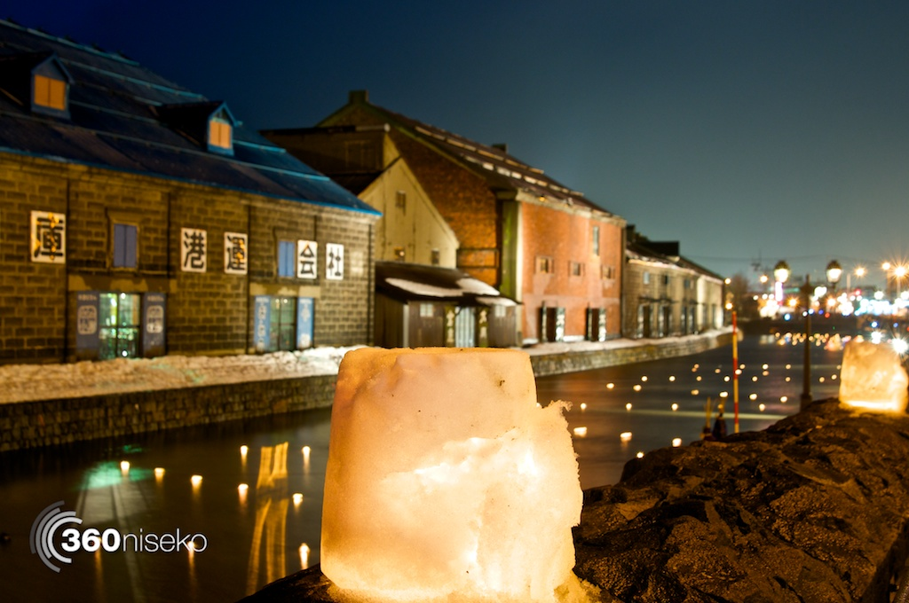 Beautiful candlelit ice lanterns by the canal in Otaru