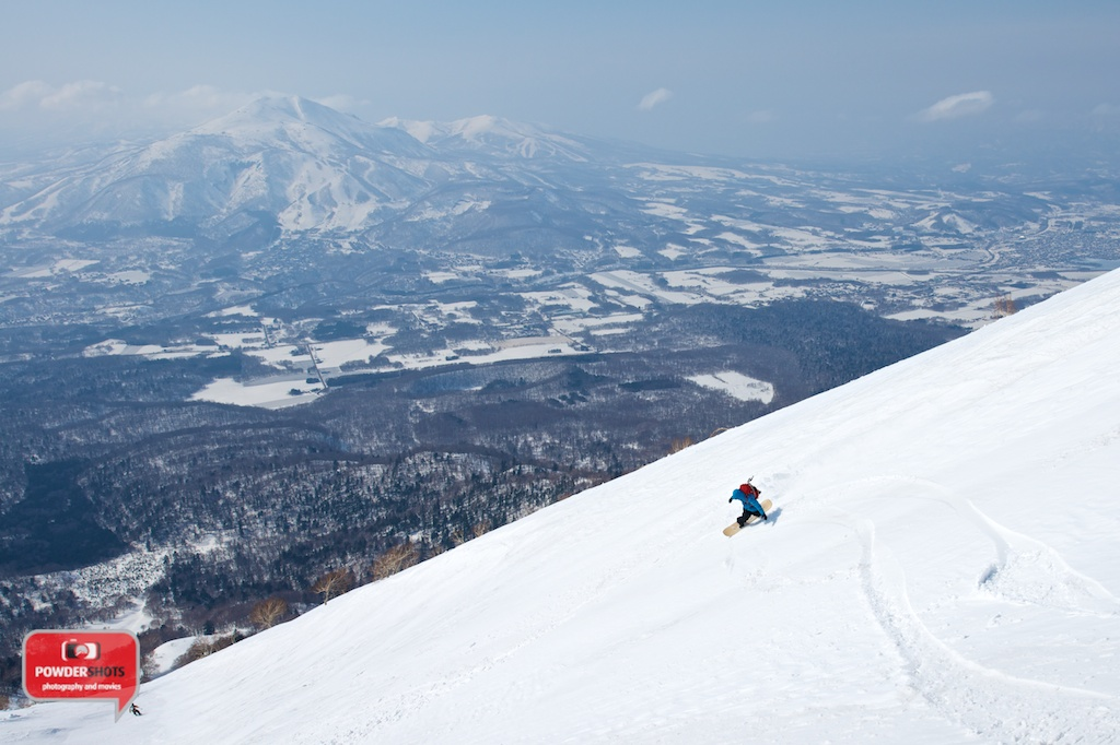 Spring power turns down Mount Yotei