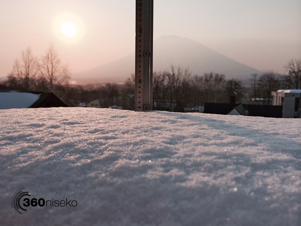 Snowfall in Hirafu Village, 7 April 2014