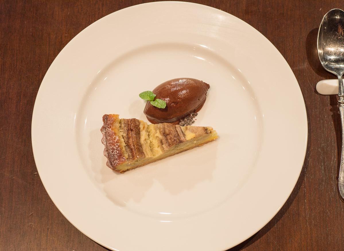 Banana Tart with Chocolate Sorbet