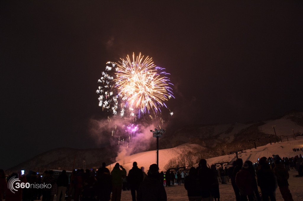 New Years fireworks above the Alpen course, 1 January 2016