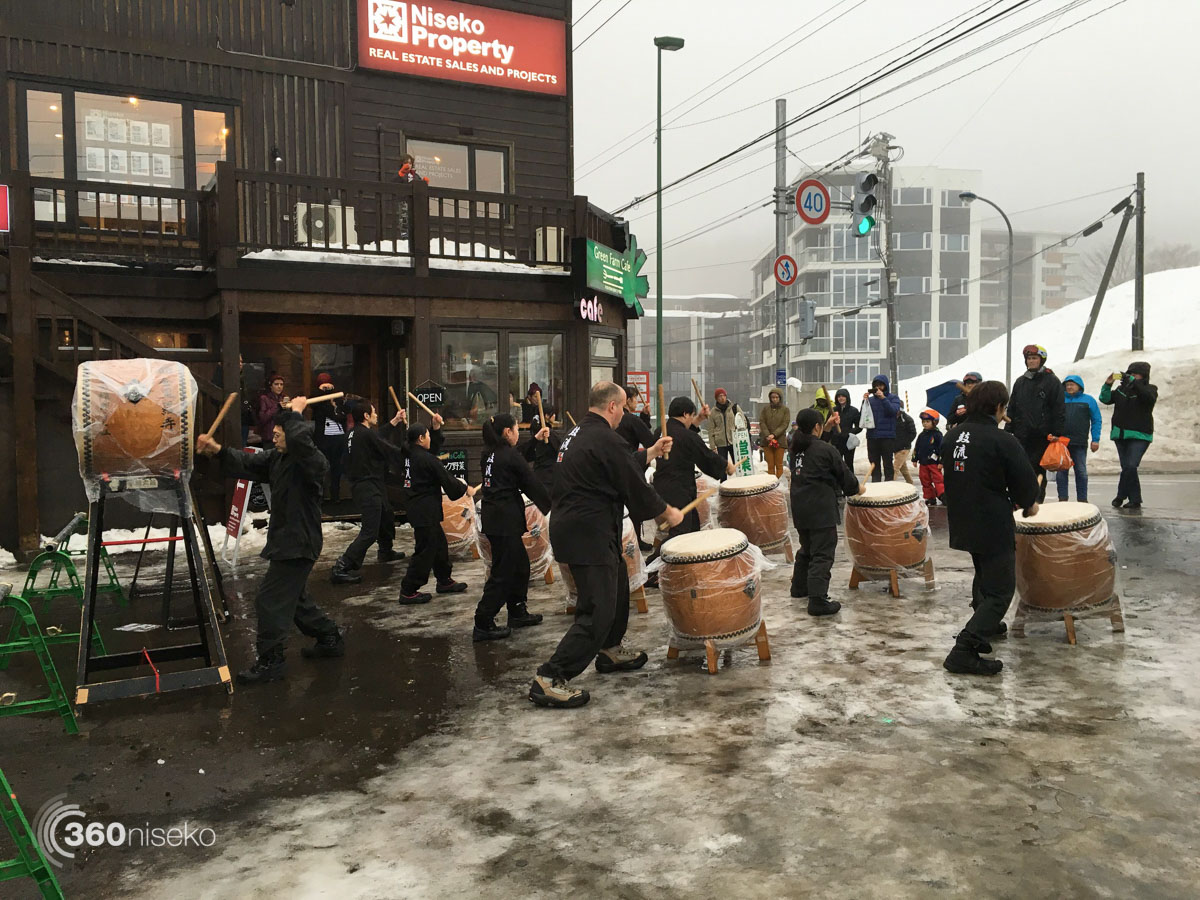 On with the show. Taiko drum performance, 14 February 2016