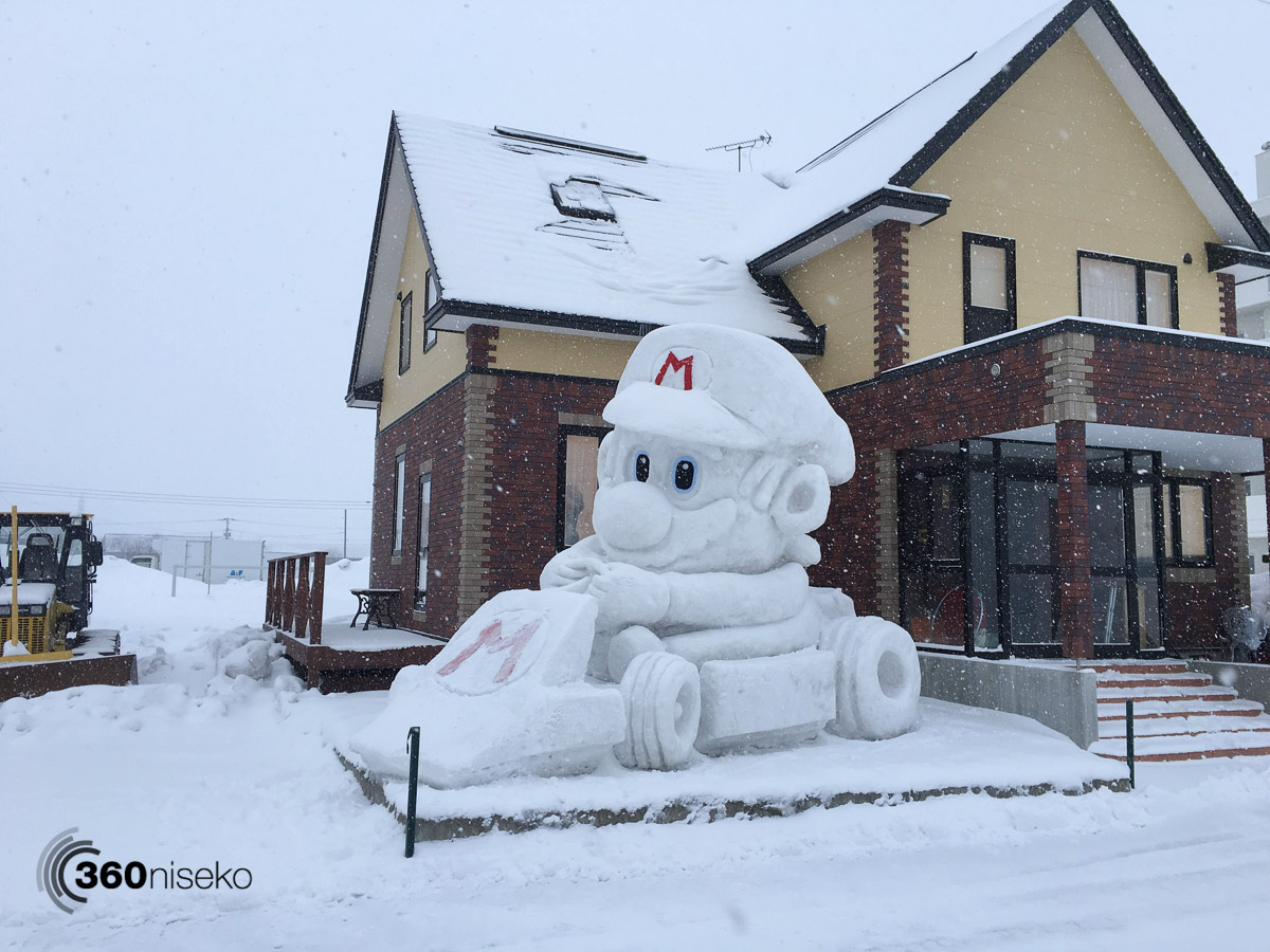 Mario Kart snow sculpture in Kutchan, 15 February 2016