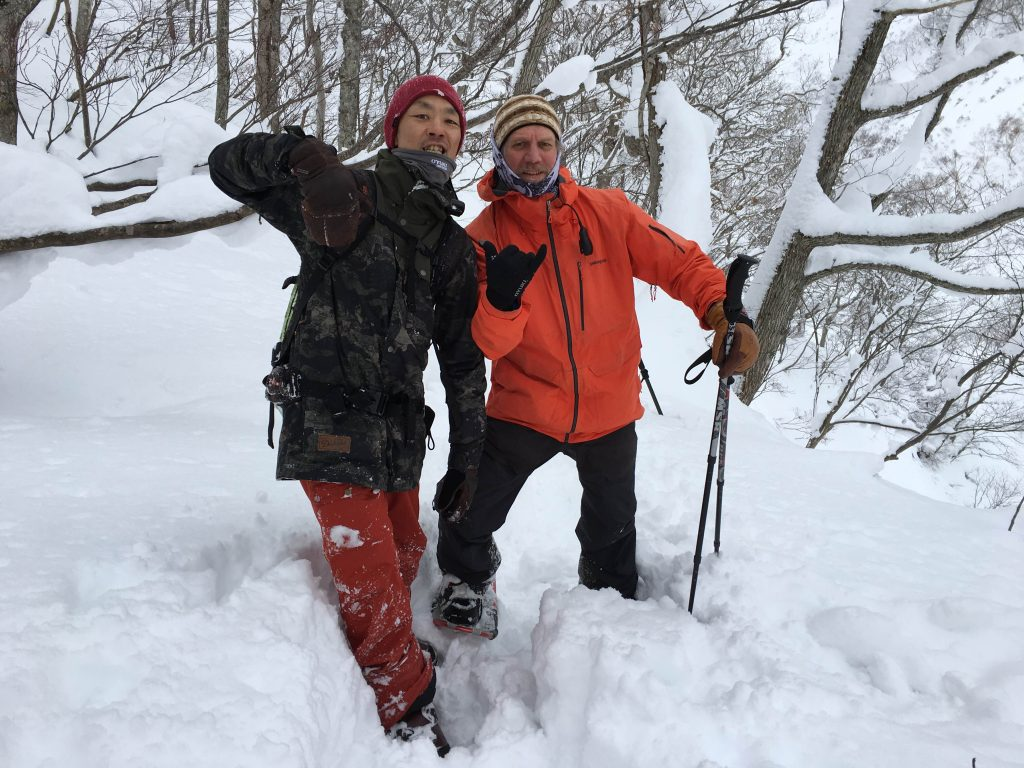 Kassun and Shane fired up after capturing a line in the deeep Niseko backcountry,  18 January 2016