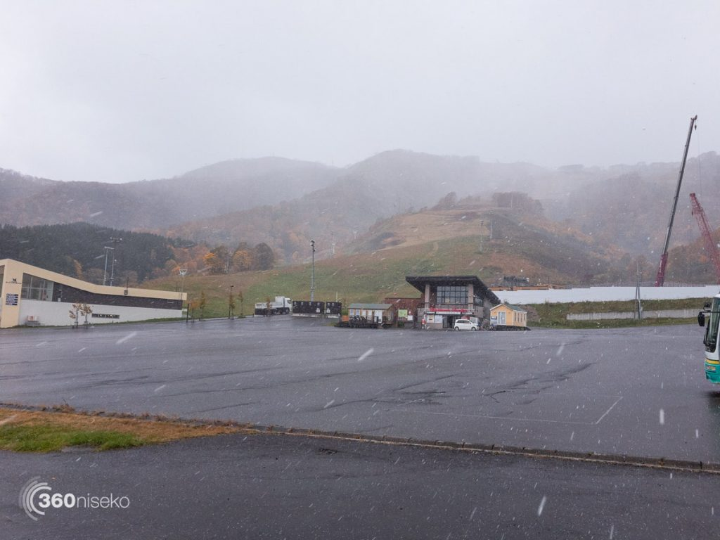 Almost snowing at the Welcome Center in Hirafu