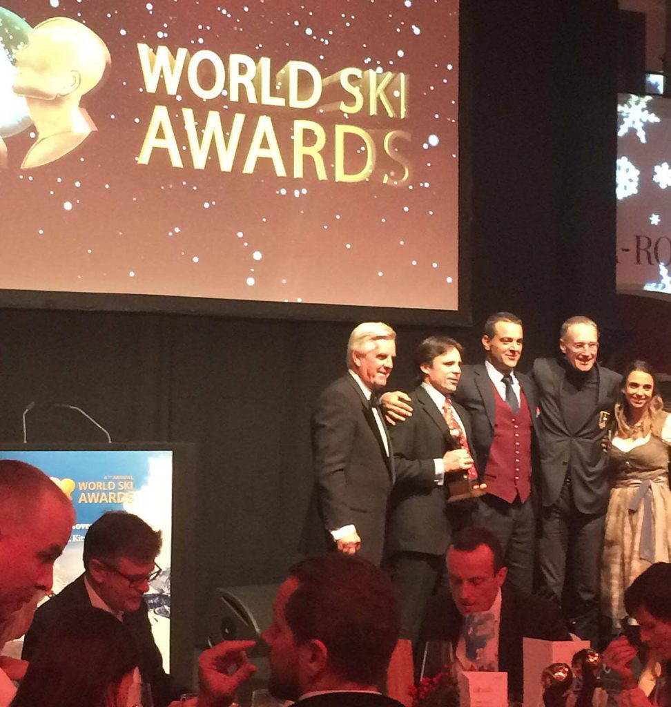 Hokkaido Backcountry Club accepting the award for the 'Worlds best Heliski operation
