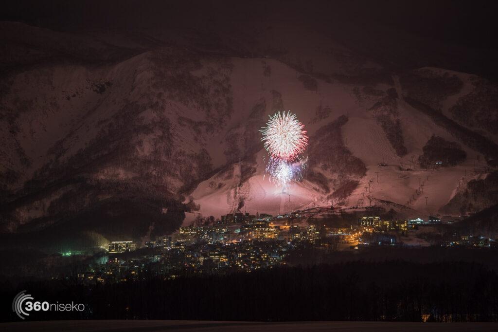 New years fireworks over Hirafu, 1 January 2017