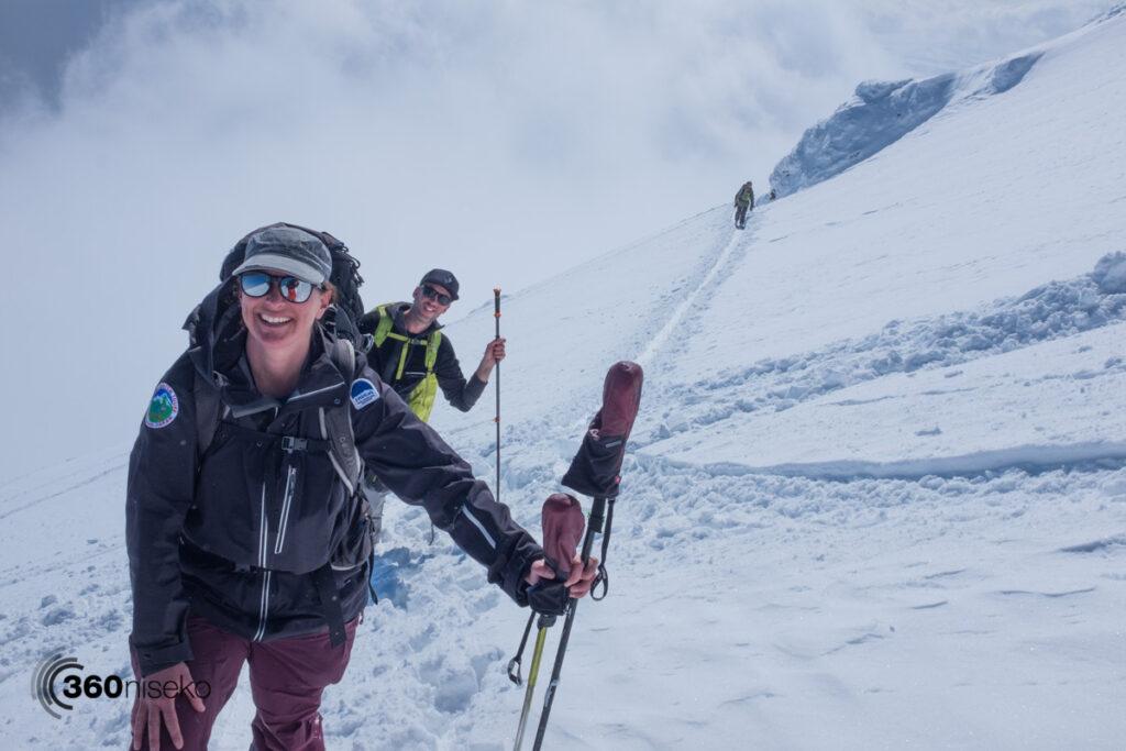 Tracey, James & Teddy hiking Mt.Yotei, 27 February 2017