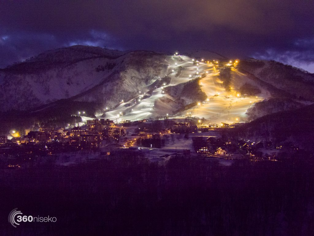 Grand Hirafu under lights, 19 March 2017