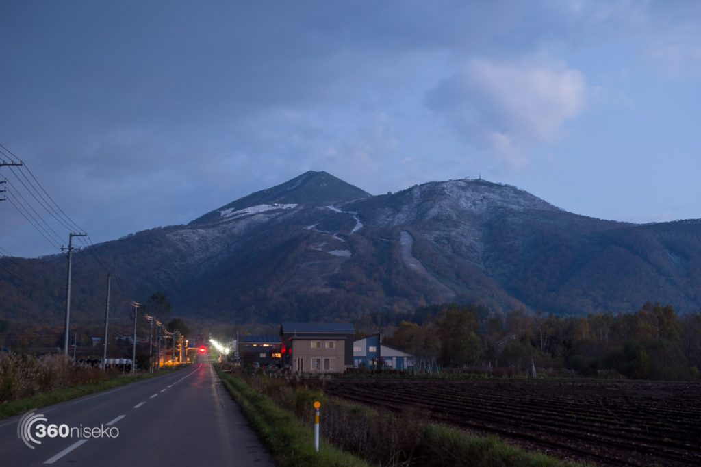 Pre-dawn looking up towards the peak of Mt.Annupuri & Niseko Village from Higashiyama